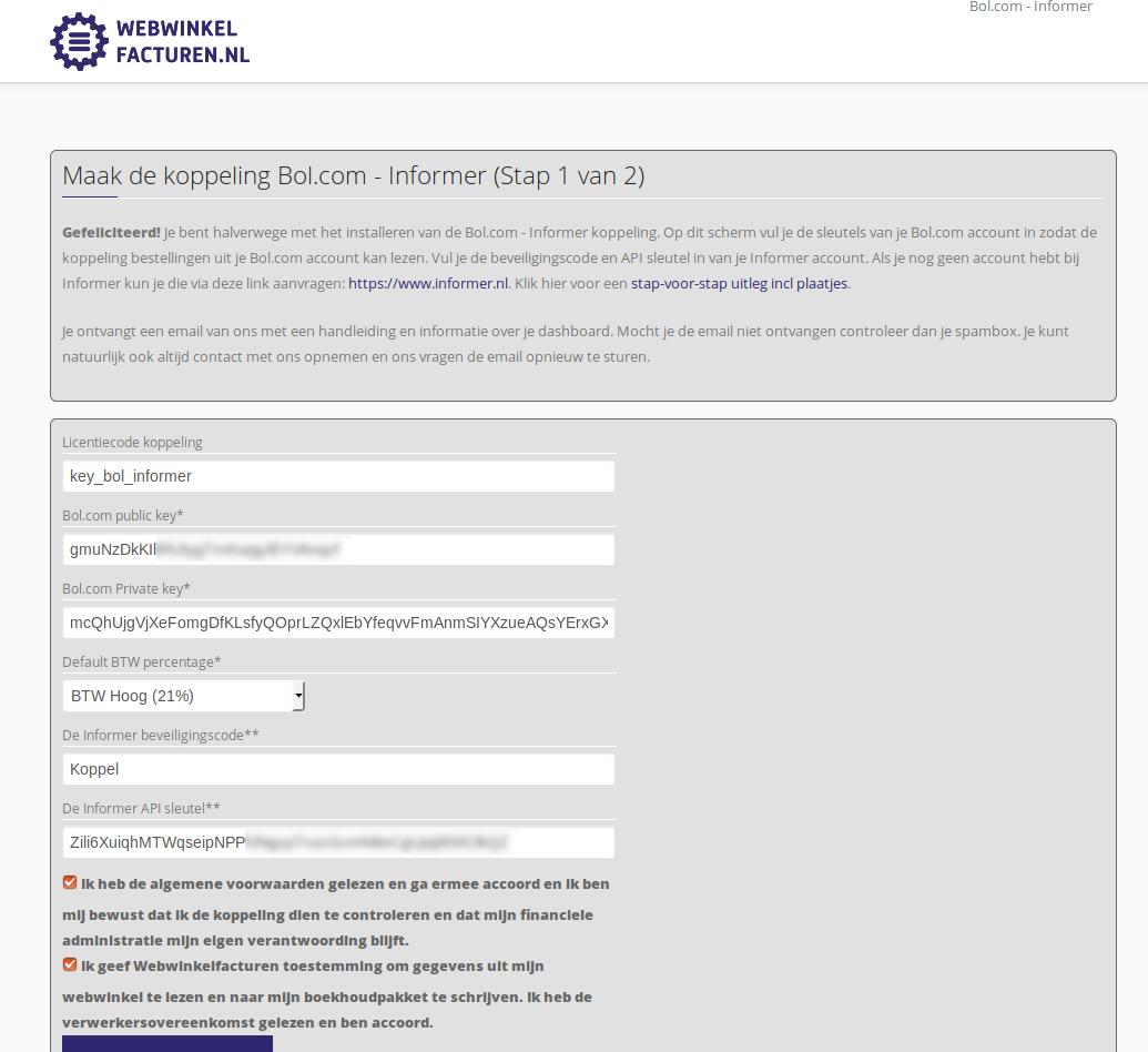 Dashboard Bol.com Informer voorwaarden