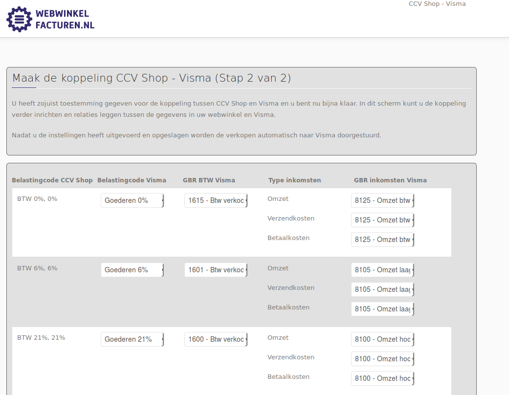 Financiele instellingen CCV Shop en Visma eAccounting