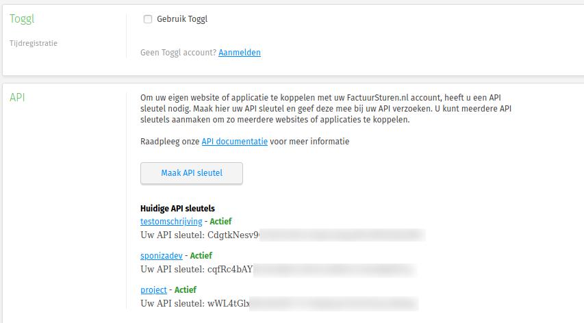 De API-sleutel Factuursturen is aangemaakt