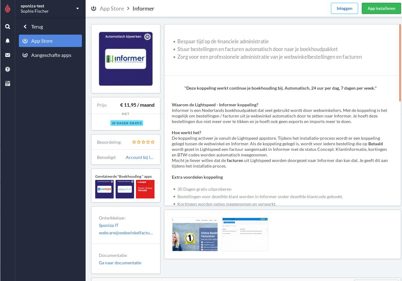 Starten installatie vanuit de Lightspeed Appstore naar Informer