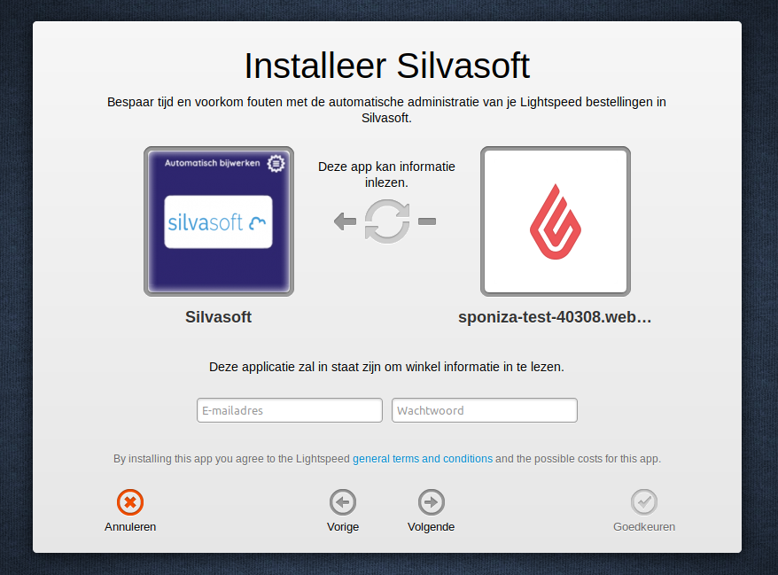 Eerste installatiescherm koppeling Lightspeed en Silvasoft