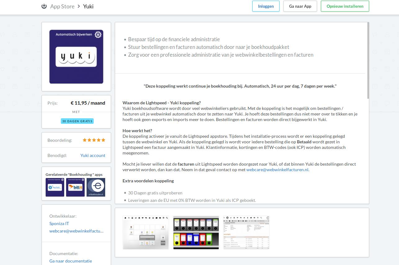 Starten installatie vanuit de Lightspeed Appstore naar Yuki