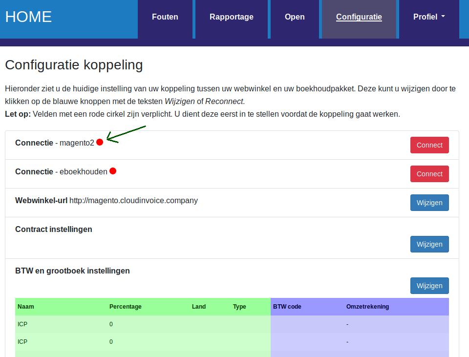 Dashboard Magento e-Boekhouden magento versie