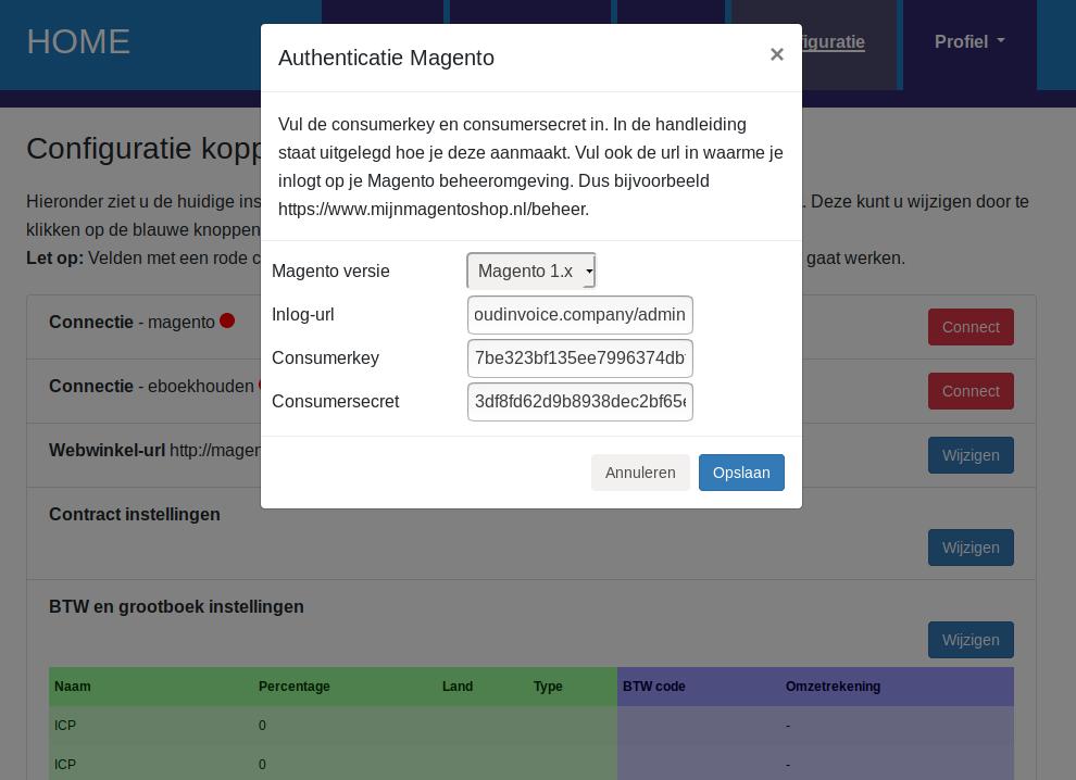 Dashboard Magento connectie