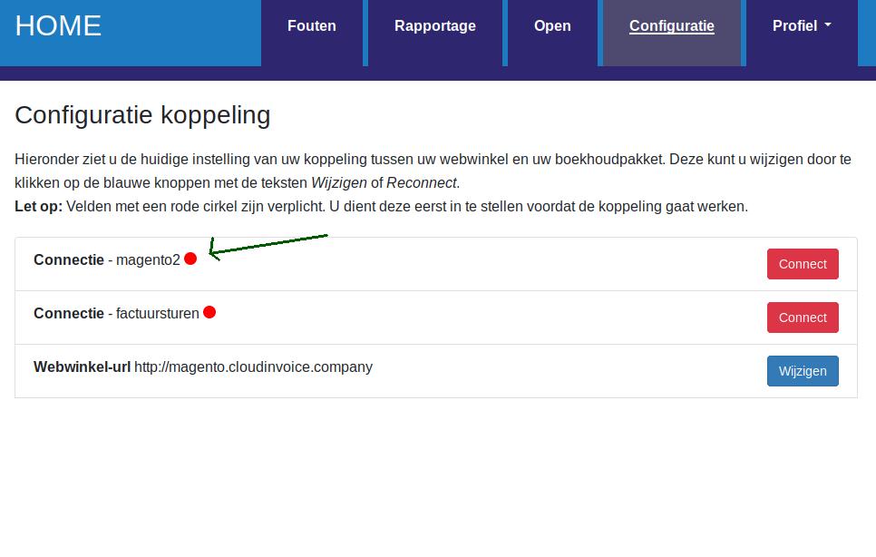 Dashboard Magento Factuursturen magento versie