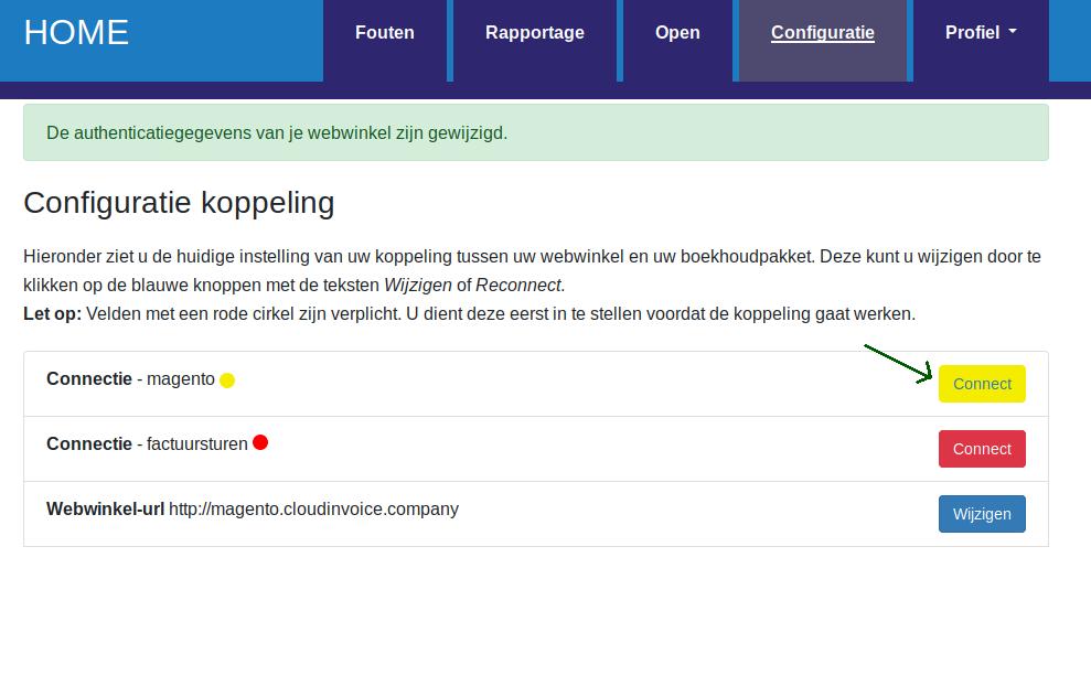 Dashboard Factuursturen authenticatie
