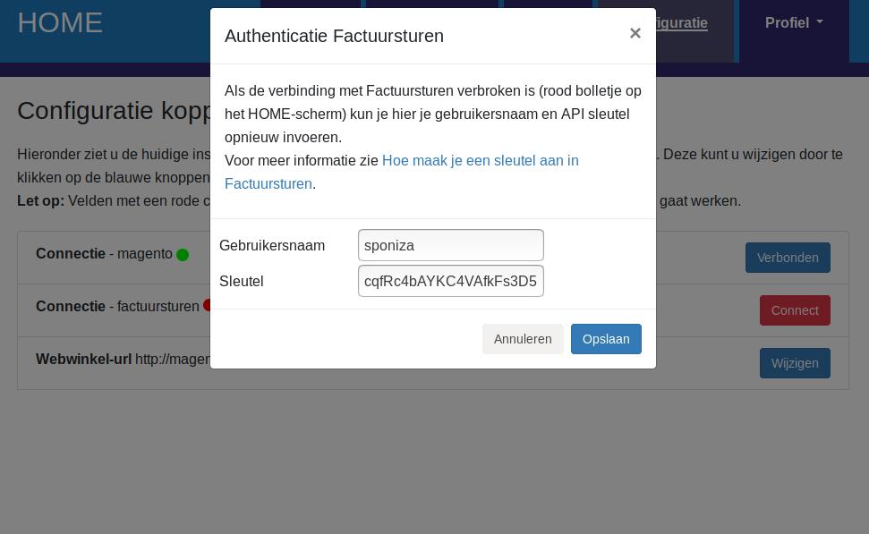 Dashboard Factuursturen connectie