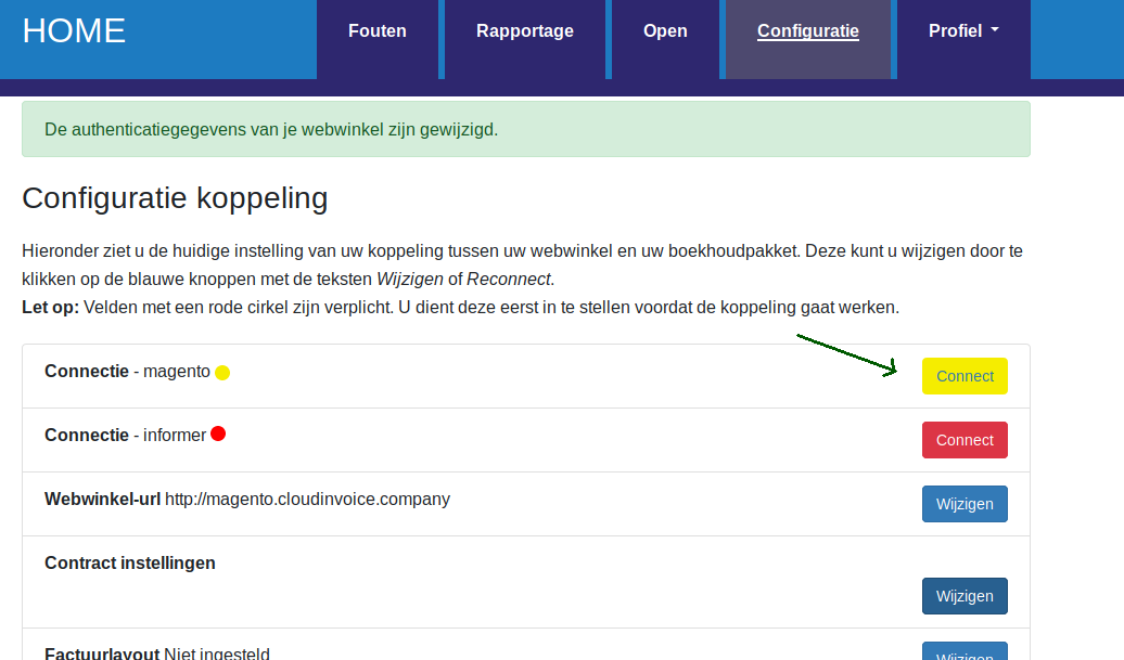 Dashboard Informer authenticatie