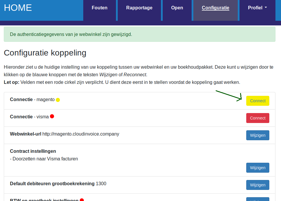 Dashboard Visma eAccounting authenticatie