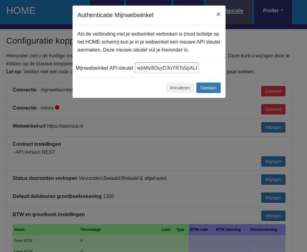 Dashboard Mijnwebwinkel connectie