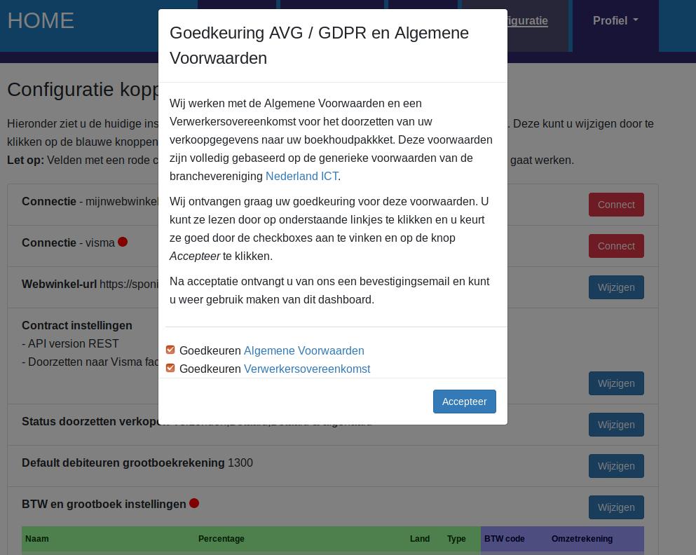 Dashboard Mijnwebwinkel Visma eAccounting voorwaarden