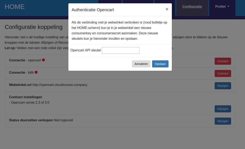 Dashboard Opencart connectie