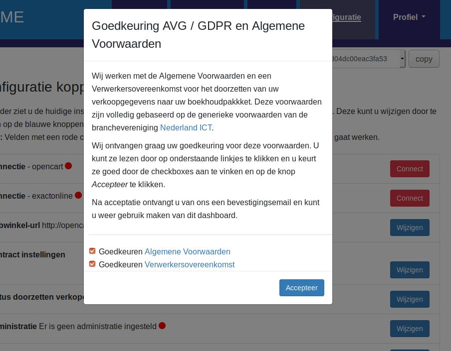 Dashboard Opencart Exact Online voorwaarden