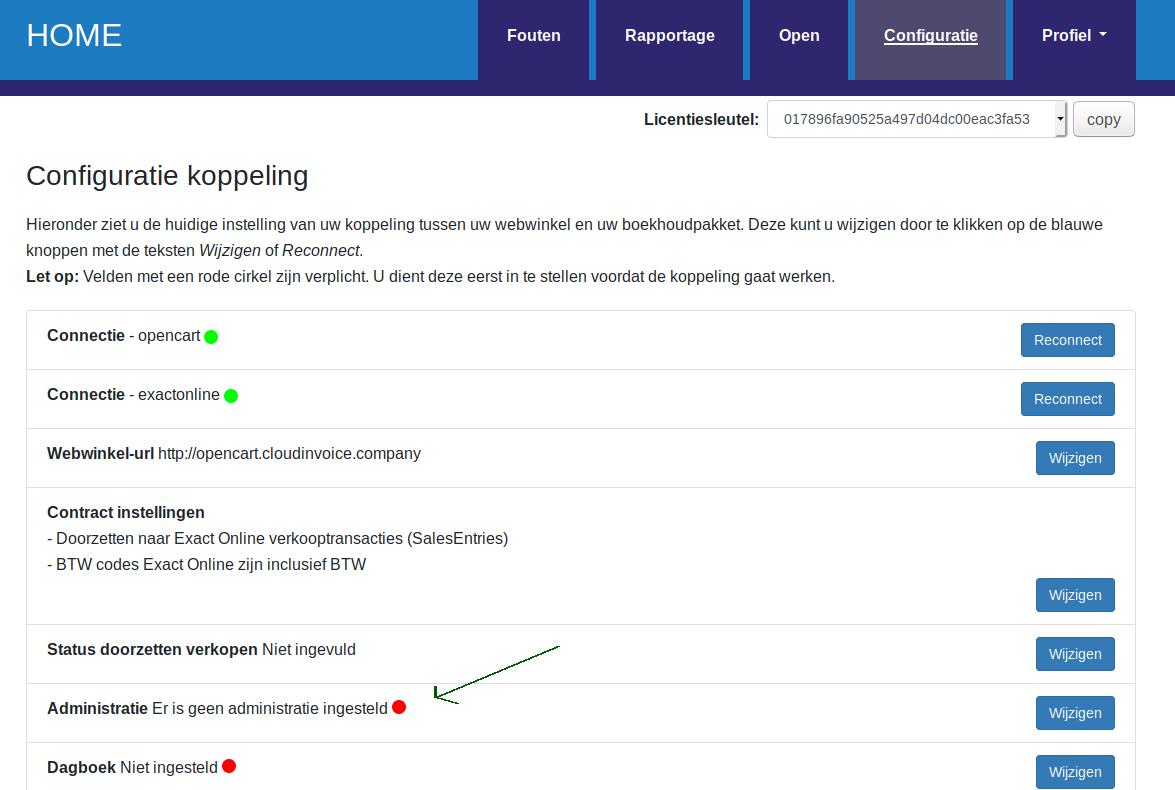 Dashboard Exact Online Administratie