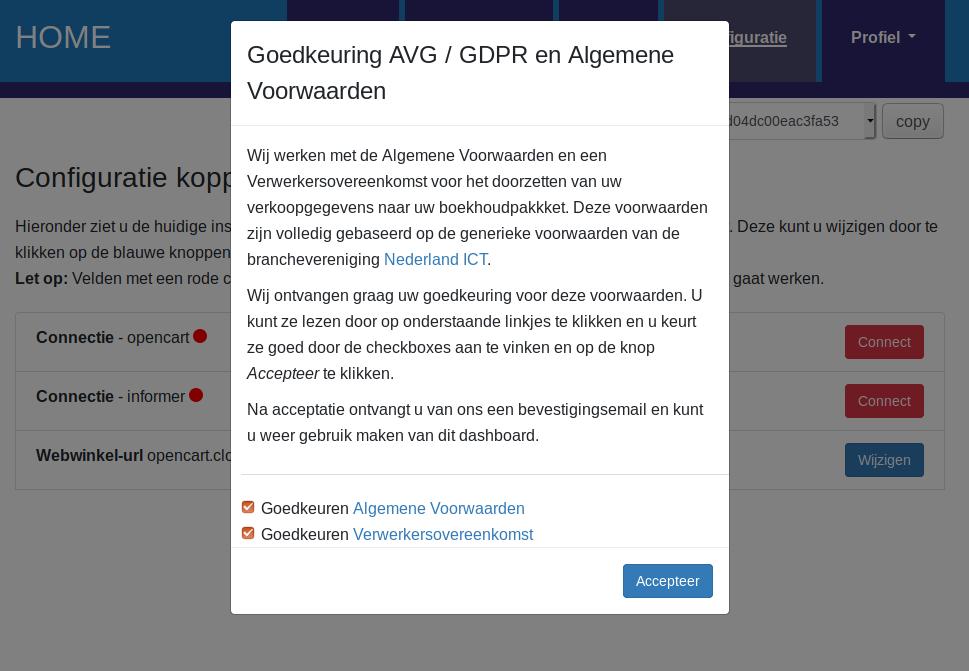 Dashboard Opencart Informer voorwaarden