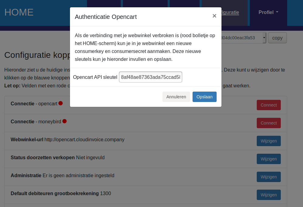 Dashboard Opencart connectie