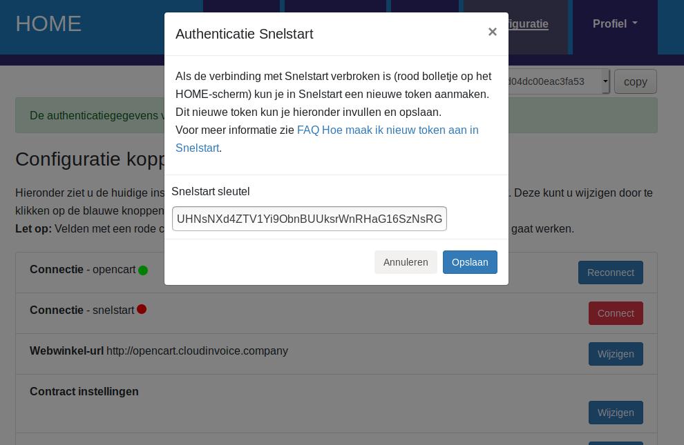 Dashboard SnelStart connectie