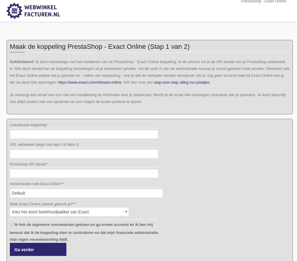 Dashboard Prestashop Exact Online voorwaarden