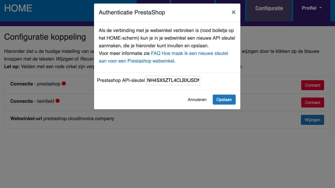 Dashboard Prestashop connectie