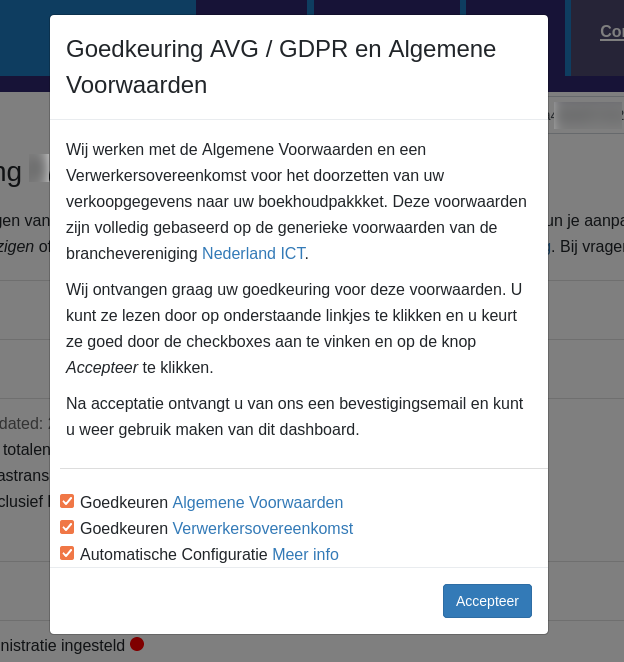 Dashboard Amazon Billit voorwaarden