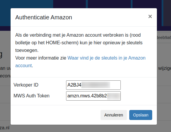 Dashboard Amazon Exact Online Amazon connectie