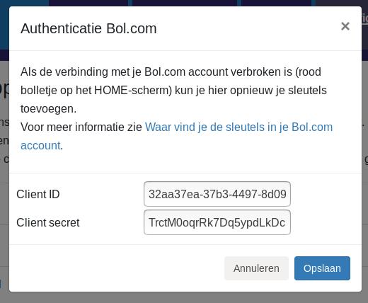 Dashboard Bol.com Minox Bol.com connectie