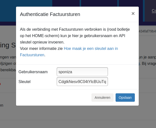 Dashboard Factuursturen connectie