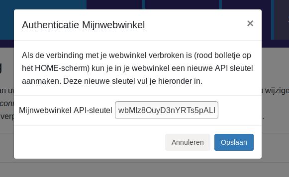 Dashboard Mijnwebwinkel Billit Mijnwebwinkel connectie