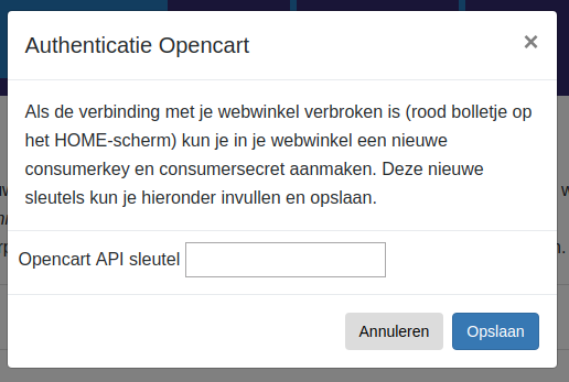 Dashboard Opencart MUIS Opencart connectie