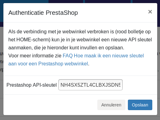 Dashboard Prestashop Exact Online Prestashop connectie