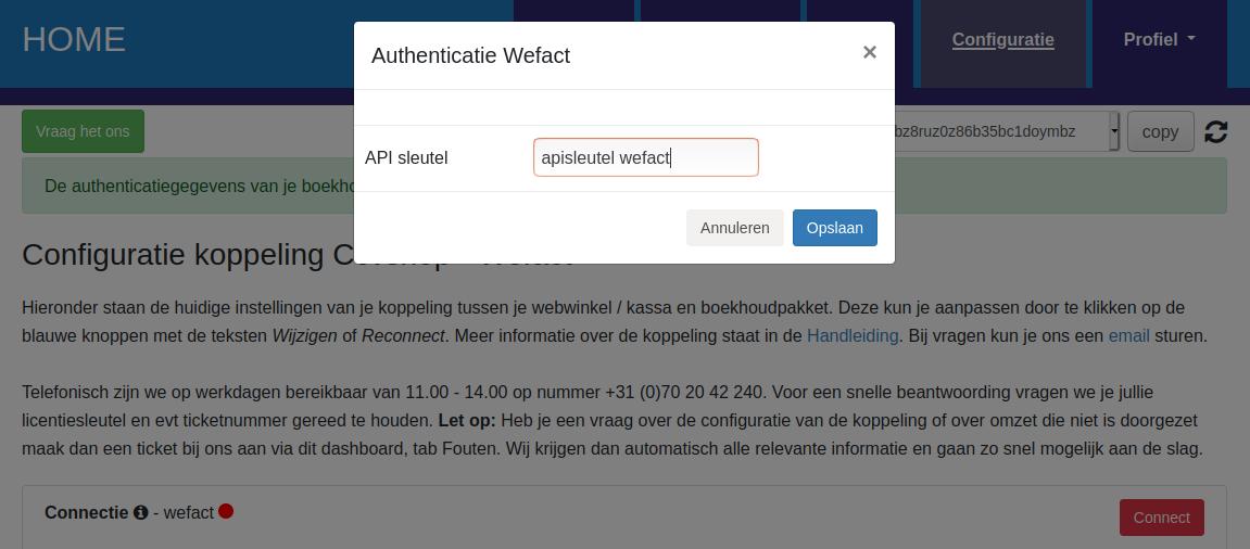 Dashboard WeFact connectie