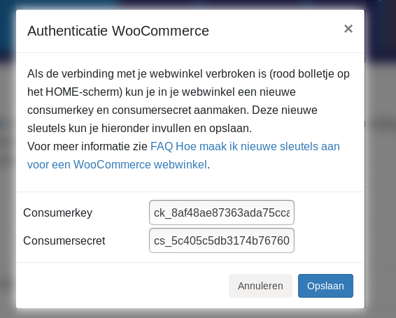 Dashboard Woocommerce Minox Woocommerce connectie