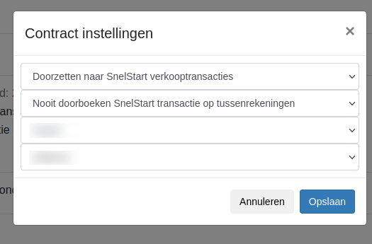Dashboard SnelStart contractinstellingen
