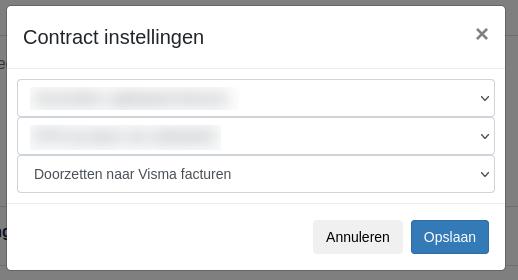 Dashboard contractinstellingen Visma eAccounting