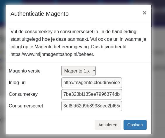 Dashboard Magento Minox Toevoegen clientkey en clientsecret