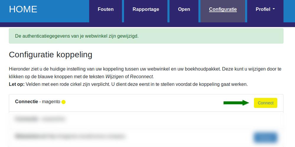 Dashboard Magento Visma eAccounting Authoriseer de koppeling