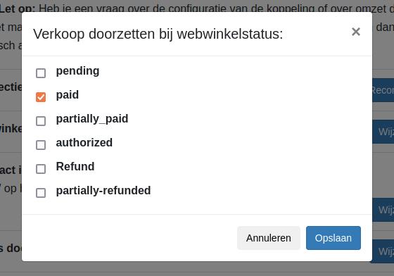 Dashboard Shopify doorzet statussen