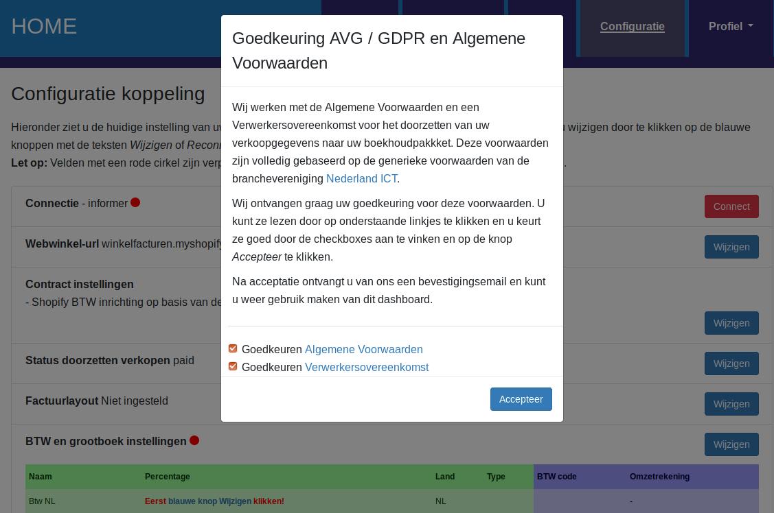 Dashboard Shopify Informer connectie