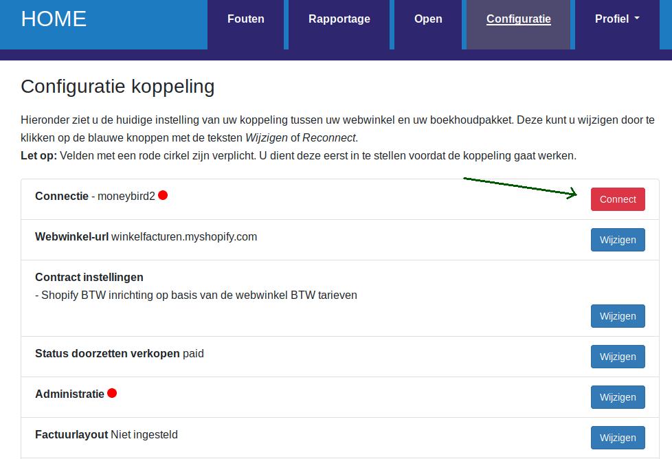 Dashboard Shopify Moneybird configuratie stappen