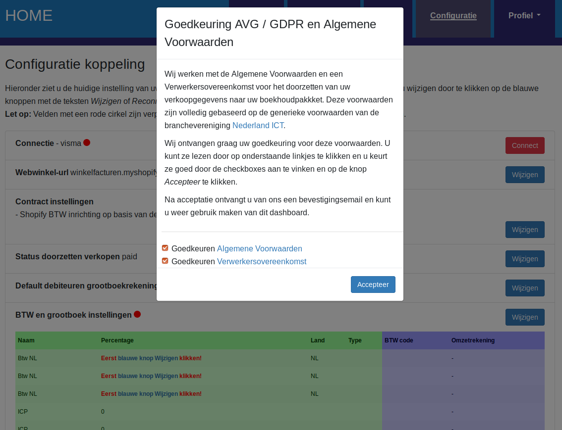 Dashboard Shopify Visma eAccounting connectie