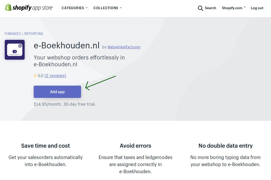 Shopify Appstore e-Boekhouden