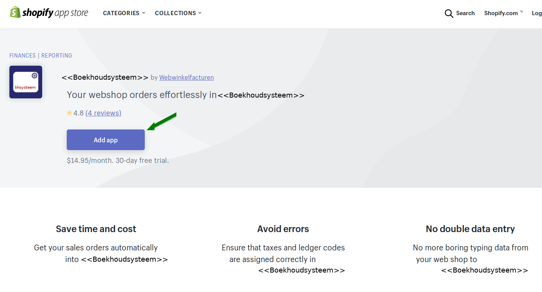 Appstore Shopify Exact Online koppeling