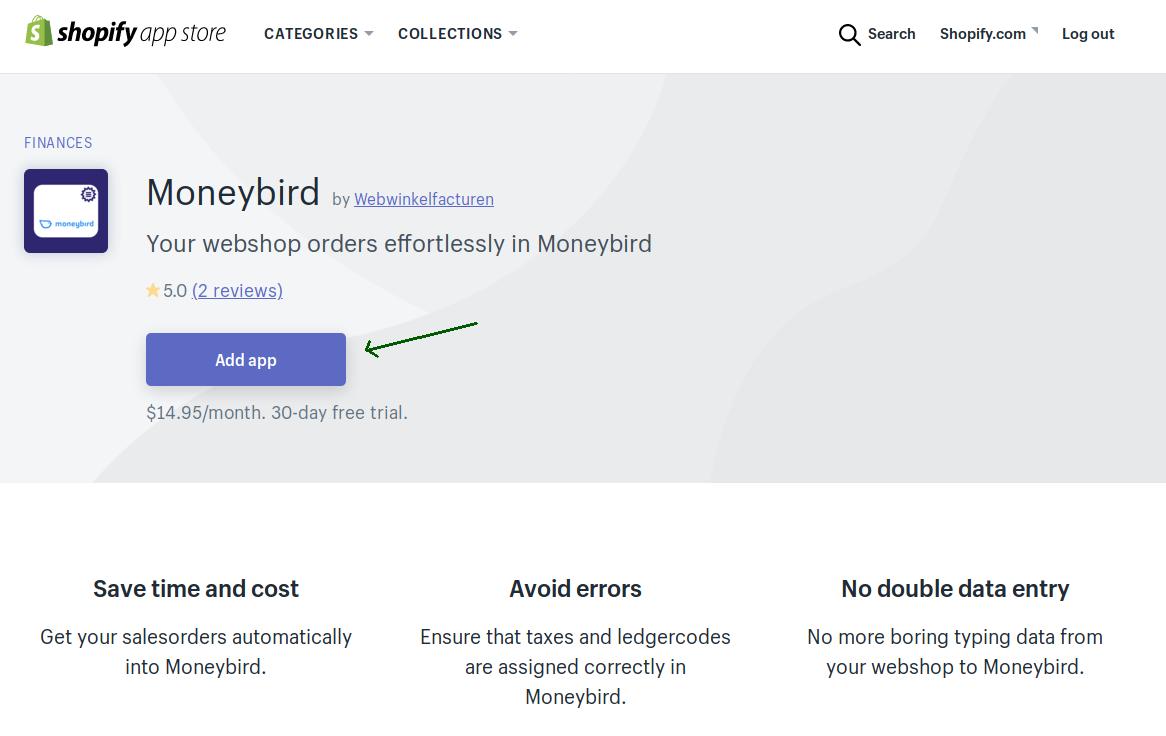 Shopify Appstore Moneybird