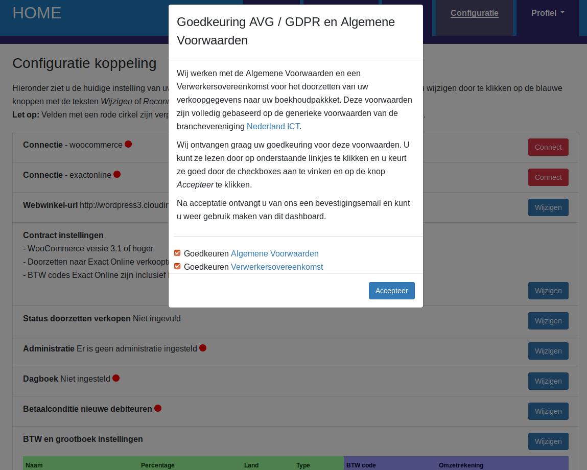 Dashboard Woocommerce Exact Online voorwaarden