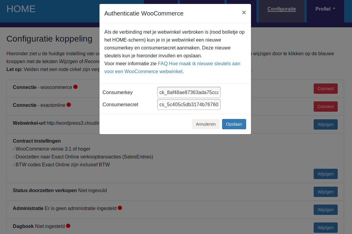 Dashboard Woocommerce connectie