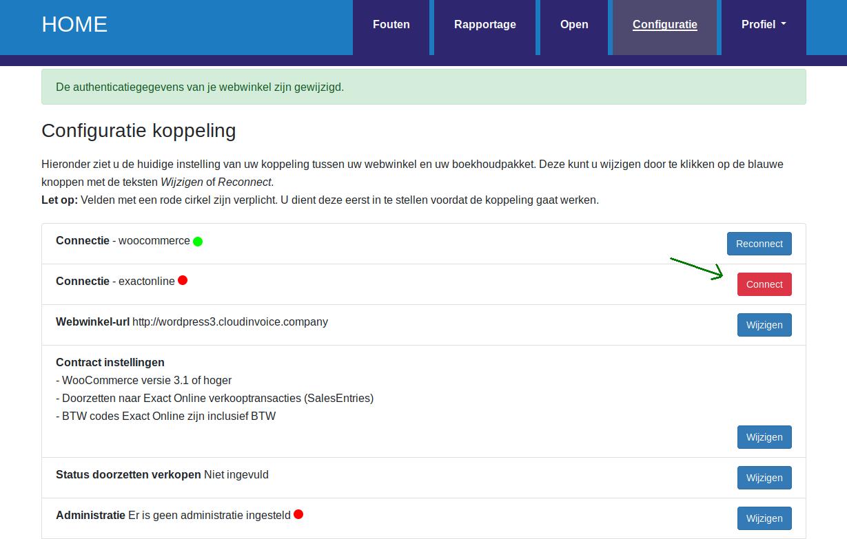 Dashboard Exact Online connectie