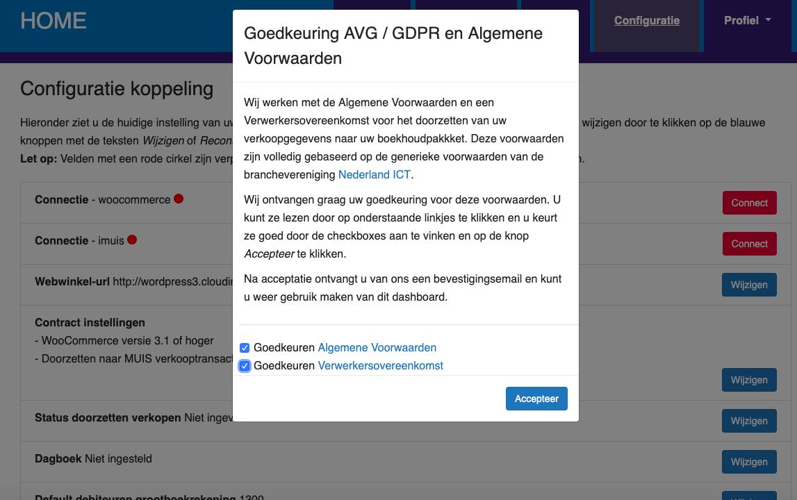 Dashboard Woocommerce MUIS Software voorwaarden