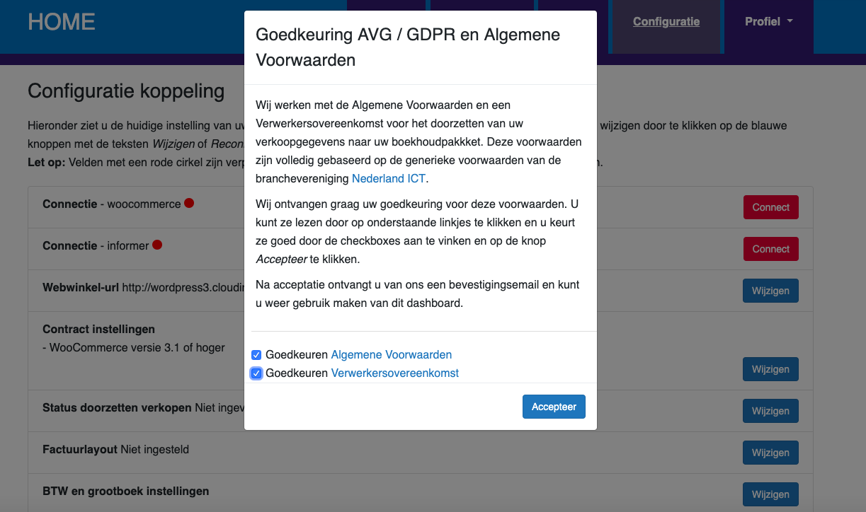 Dashboard Woocommerce Informer voorwaarden