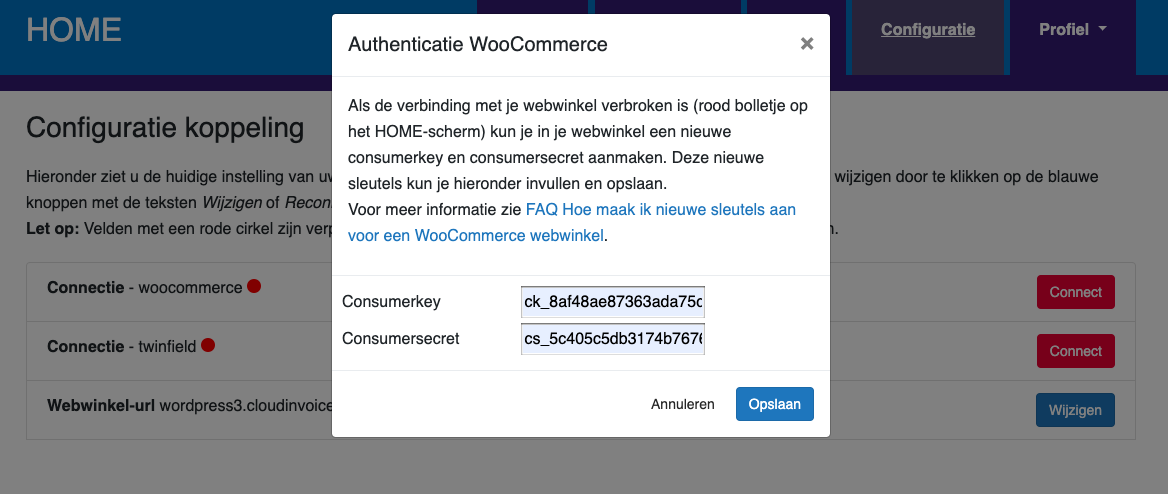 Dashboard Woocommerce connectie