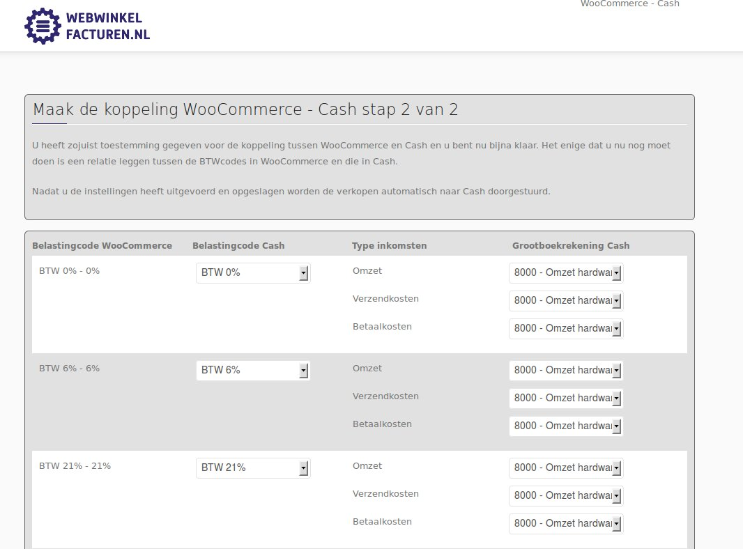 Scherm om de BTW codes in WooCommerce en Cash te matchen